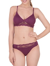 purple cotton bra and panty set -  online shopping for bras and panty set