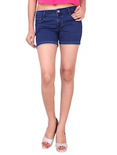 dark blue denim shorts -  online shopping for Shorts