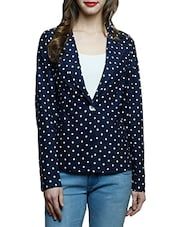 navy blue polka dots printed cotton casual blazer -  online shopping for Blazers