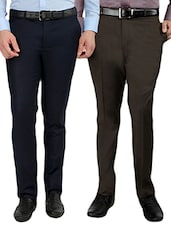 set of 2 polyester flat front trousers formal trouser -  online shopping for Formal Trousers