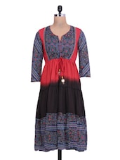 Printed Red And Black Cotton Anarkali Kurta - By