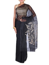 Black Striped Pure Silk And Resha Saree - By