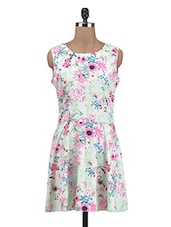 Multicolored Poly Crepe  Floral Printed A-Line Dress - By