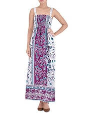 Multicolored Poly Crepe Printed Long Dress - By