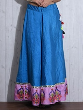 Sky Blue Printed Flared Silk Skirt - By
