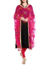 Pink Chiffon Phulkari Dupatta - By