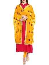 Yellow Chiffon Phulkari Dupatta - By
