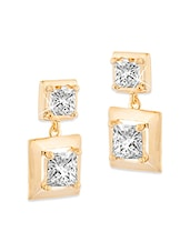 Gold Plated White Cubic Zirconium Double Square Drop Earring For Women - By