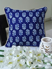 Indigo Floral Print Cotton Cushion Cover - By
