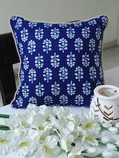Indigo Floral Print Cotton Cushion Cover - By