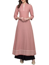 Pink Rayon Flared Kurta - By