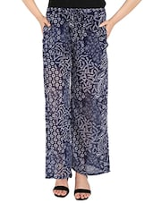 navy blue georgette palazzo -  online shopping for Palazzos
