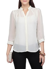white georgette regular shirt -  online shopping for Shirts