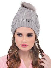 Grey Woolen Winter Cap - By