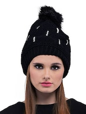 Black Woolen Winter Cap - By