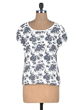 Black And White Floral Printed Viscose Top - By