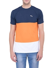 colour block polyester t-shirt -  online shopping for T-Shirts
