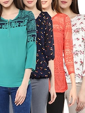 Pack of 4 multi colored polyester tops -  online shopping for Sets