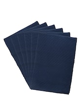 Dhrohar Hand Woven Cotton Table Mat - Pack Of 6 Mats - Navy Blue - By