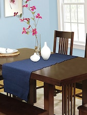 Dhrohar Hand Woven Cotton Table Runner - Navy Blue - By