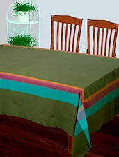 Dhrohar Hand Woven Cotton Table Cover For 6 Seater Table - Green - By