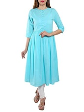 Turquoise Cotton Anarkali Kurta - By