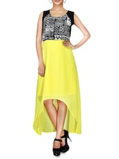 Yellow Printed Sleeveless Georgette Asymmetrical Dress - By