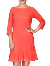 Solid Coral Red Quarter Sleeved Jersey Dress - By