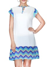 White Chevron Printed Poly Georgette Dress - By