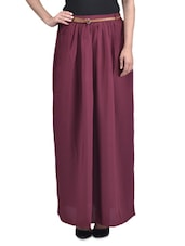 Red Polyester Plain  Long Skirt With Gathers - By