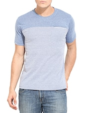 grey and blue cotton striped t-shirt -  online shopping for T-Shirts