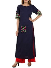 blue khadi long kurta -  online shopping for kurtas
