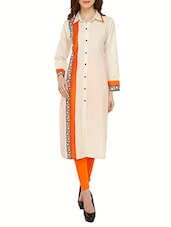 Beige Block Printed Cotton Straight Kurta - By