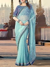 blue georgette self design saree -  online shopping for Sarees