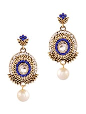 Gold And Blue Studded Pearl Drop Earrings - By