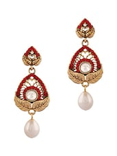 Red Studded Pearl Drop Earrings - By