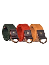 Pack Of 3 Multi Colored Canvas Belt - By - 12890387