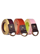 Pack Of 3 Multi Colored Canvas Belt - By - 12890444