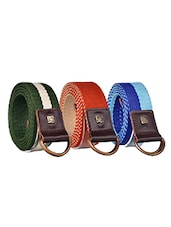Pack Of 3 Multi Colored Canvas Belt - By - 12890453