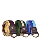 Pack Of 3 Multi Colored Canvas Belt - By - 12890459