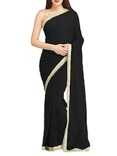 black color georgette saree -  online shopping for Sarees