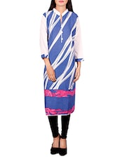 blue cotton printed straight kurta -  online shopping for kurtas