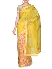 Yellow Printed Supernet Saree With Blouse Piece - By