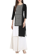Black Colored Cotton Straight Kurta - By