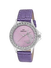 PURPLE Round Shape White Dial Analog Watch -  online shopping for Wrist watches