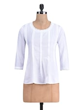 White Cotton Round Neck Top - By