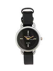 BLACK LEATHER STRAP ROUND ANALOG WATCH -  online shopping for Wrist watches