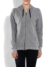 Solid Grey Hooded Cotton Sweatshirt - By