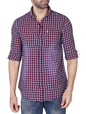 purple cotton checked casual shirt -  online shopping for casual shirts