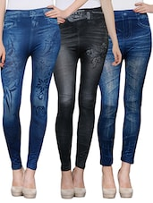 multi colored polyester jegging combo -  online shopping for Jeggings